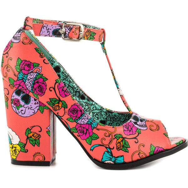 Iron Fist Women's Sweet Tooth Peeptoe Heel - Coral ($44) ❤ liked on Polyvore featuring shoes, pumps, heels, coral peep toe pumps, multi colored pumps, floral print pumps, colorful pumps and floral pumps