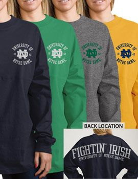 Product: University of Notre Dame Fighting Irish Women's Ra Ra Football Long Sleeve T-Shirt
