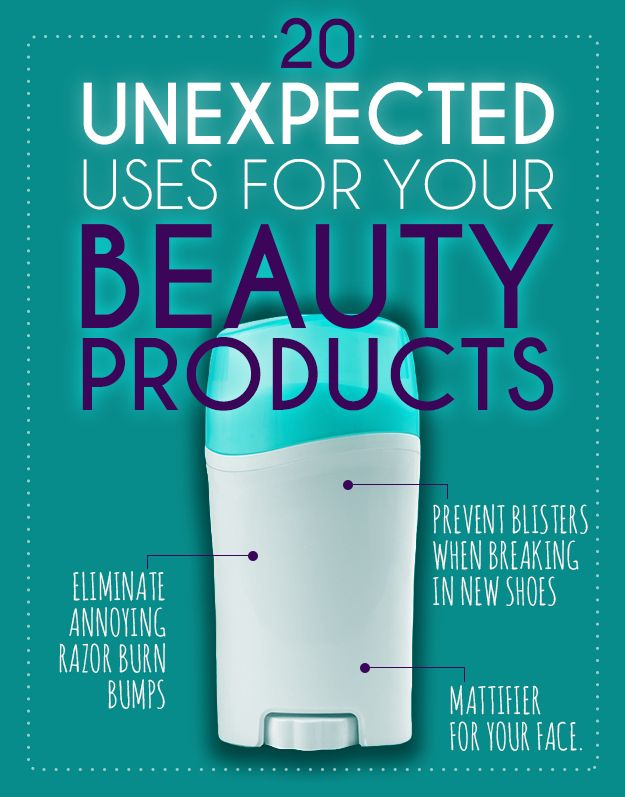 20 Unexpected Uses For Your Beauty Products. Deodorant, conditioner, coconut oil, flat iron, mascara, nail polish, they all have more than one use for hair, makeup and beauty tips and tricks.