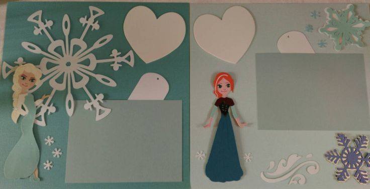 Double page Frozen scrapbook layout with Elsa & Anna by Thecraftbus on Etsy https://www.etsy.com/listing/229400960/double-page-frozen-scrapbook-layout-with