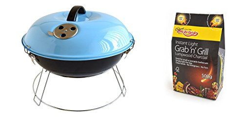 Bar-Be-Quick Portable Picnic Barbecue- Sky Blue   Grab Bag of Instant light Lumpwood Charcoal- Perfect for clean, easy cooking!