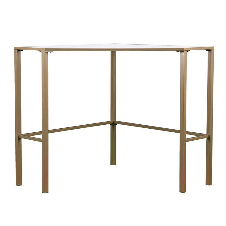 Keylon Metal/Glass Corner Desk - Matte Khaki (Green) - Aiden Lane