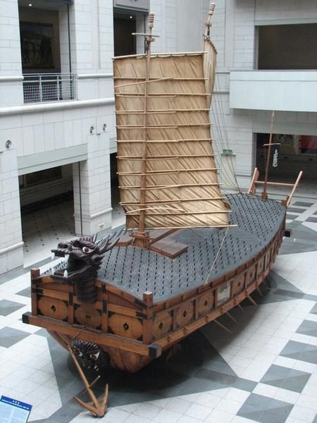 "Though not a steamship the ""Turtle"" style Korean ship was an IronClad and had cannon.  Cool!"