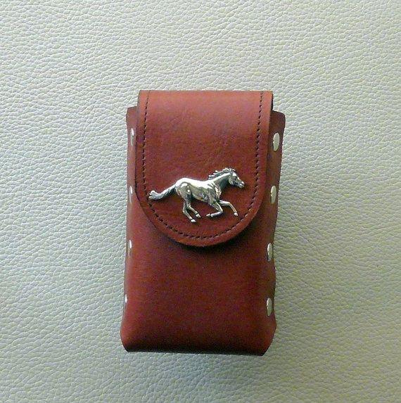 Leather Cigarette Case,  Horse Design Cigarette Case, Rust Leather Cigarette Case