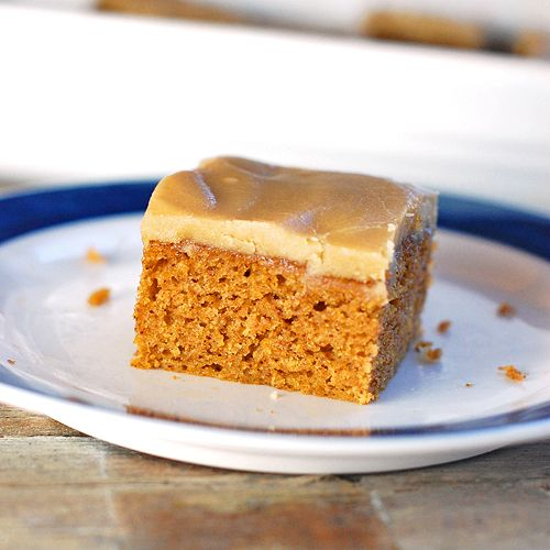 pumpkin bars w/ a caramel frosting. you want them too dont you!?!?