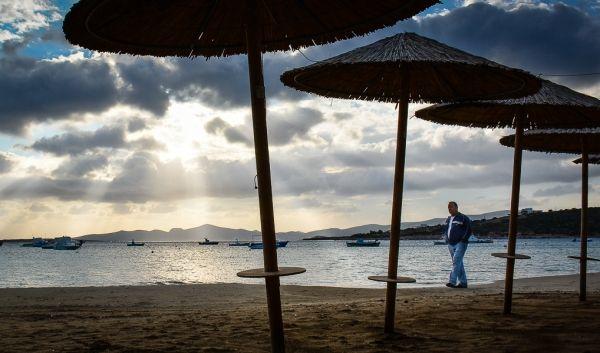 Walking at the beach: October in Paros