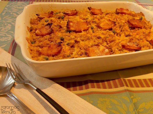 Arroz de Peru no Forno  Ingredientes: 1 perna de peru (cerca de 800g) 600g de arroz agulha 1 cenoura em fios 1 cebola 2 dentes de alho 10 cogumelos frescos 200g de ervilhas 150g de bacon 1 colher chá de açafrão sal, pimenta de moinho q.b. azeite q.b.  1 dl de vinho branco 1 pernada de alecrim 1 folha de louro  Preparação: Lave e corte a perna de peru em pedaços. Leve-a ao lume, num tacho com um pouco de água e o vinho branco. Tempere de sal e pimenta, junte o louro e o alecrim desfeito e…