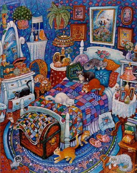 Many cats paintings. Bill Bell - Blue Bedroom Cats.