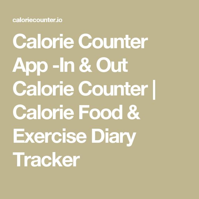 Calorie Counter App -In & Out Calorie Counter   Calorie Food & Exercise Diary Tracker