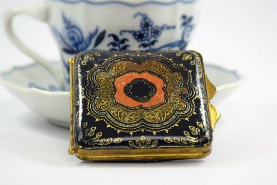 Vintage Compact| Italian Florentine| Gold Gilt| Embossed Blue Leather| Gift for her