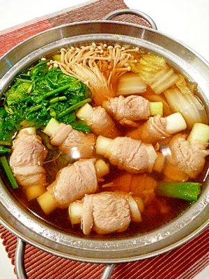"""Healty NABE for cold prevention(Welsh onion,Ginger,pork)""  ねぎ豚巻きで☆風邪知らずの健康鍋。〜生姜スープ〜/ねぎ豚生姜鍋  - I would use a different meat, maybe beef but looks yum!"