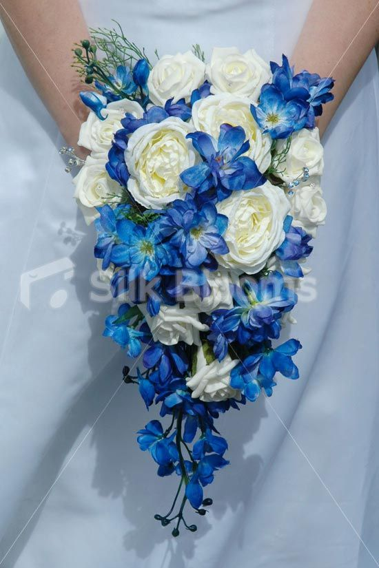 Beautiful Blue Delphinium and Ivory Rose Teardrop Bouquet