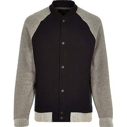 Black zip through raglan sleeve bomber jacket £38 #riverisland #RImenswear
