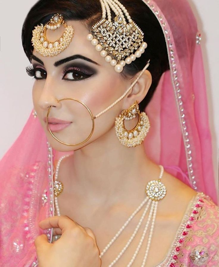 Pakistani bridal, pink, gorgeous makeup, smokey eye, traditional jewelry