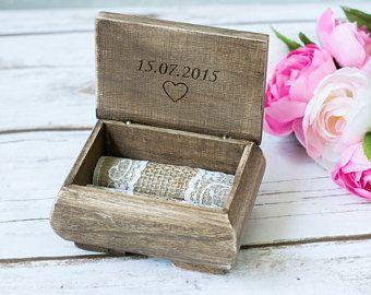 Almohada anillo de boda caja personalizada titular titular anillo portador su suyo país boda anillo rústico