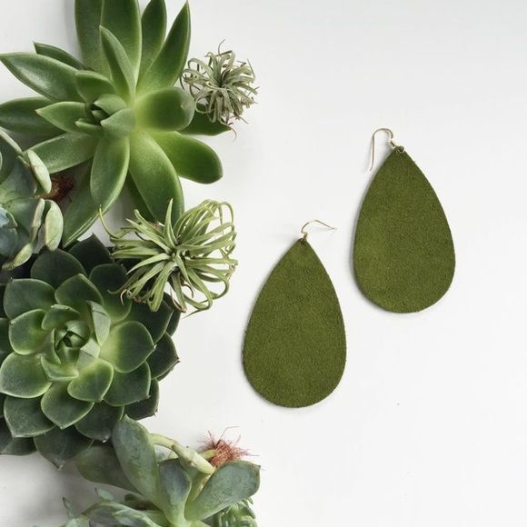 Nickel & Suede Olive Green Suede Earrings I love how light Nickel & Suede Earrings are but I need to make room for new colors! These are gently worn and clean. Gorgeous deep olive suede and silver hardware. Comes in N&S gift box. Nickel & Suede Jewelry Earrings