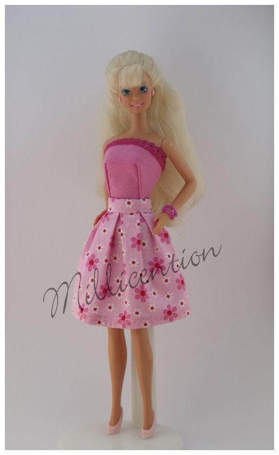 Pink floral Barbie doll top & skirt