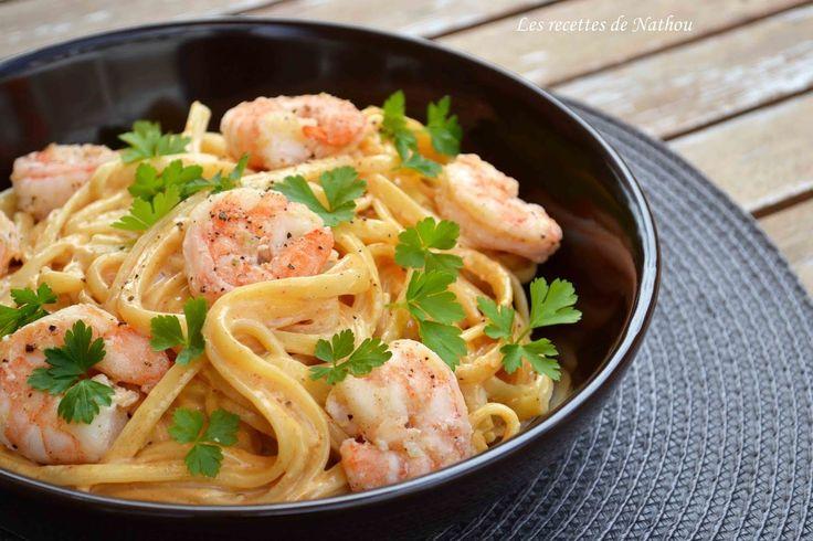Les recettes de Nathou: Pâtes linguine aux crevettes, sauce crémeuse à l'ail, paprika fumé et citron