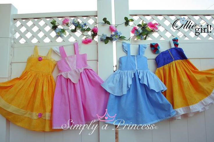 princess sundresses - no pattern here, but what a great idea, basic pattern and use colors/embellishments for a cute costume!