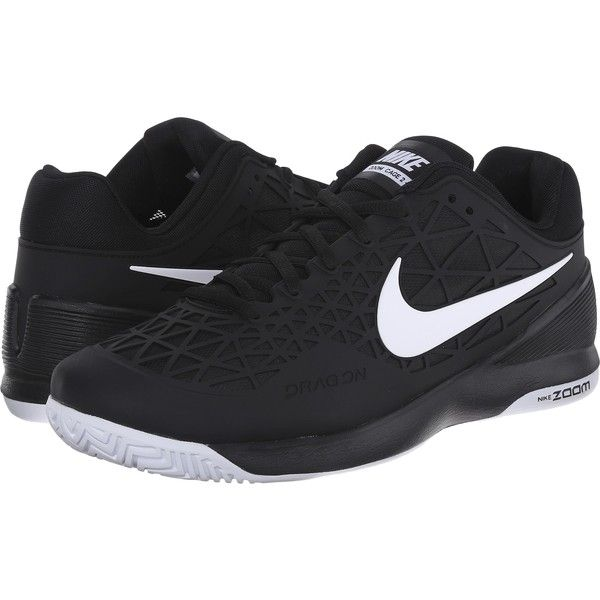 Nike Zoom Cage 2 (Black/White 1) Men's Tennis Shoes ($99) ❤ liked on Polyvore featuring men's fashion, men's shoes, men's athletic shoes, black, mens black tennis shoes, mens shoes, black white mens dress shoes, mens tennis shoes and nike mens athletic shoes