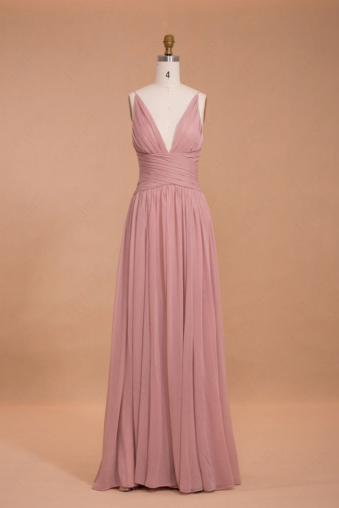 Spaghetti straps dusty pink bridesmaid dresses long