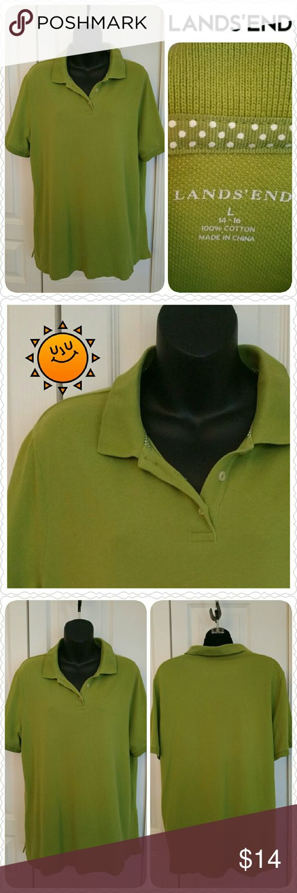 "Lands' End Polo, excellent condition (no flaws) Lands' End short-sleeved polo shirt (ladies) * Size Large (14-16) * 100% cotton  * Color: olive green * Excellent condition with no flaws * Shoulders 17"", chest 46"" Lands' End Tops"