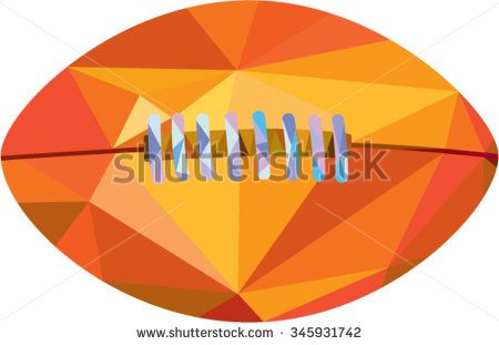 Low polygon style illustration of an american football ball viewed from front set on isolated white background.  - stock vector #Americanfootball #lowpolygon #illustration