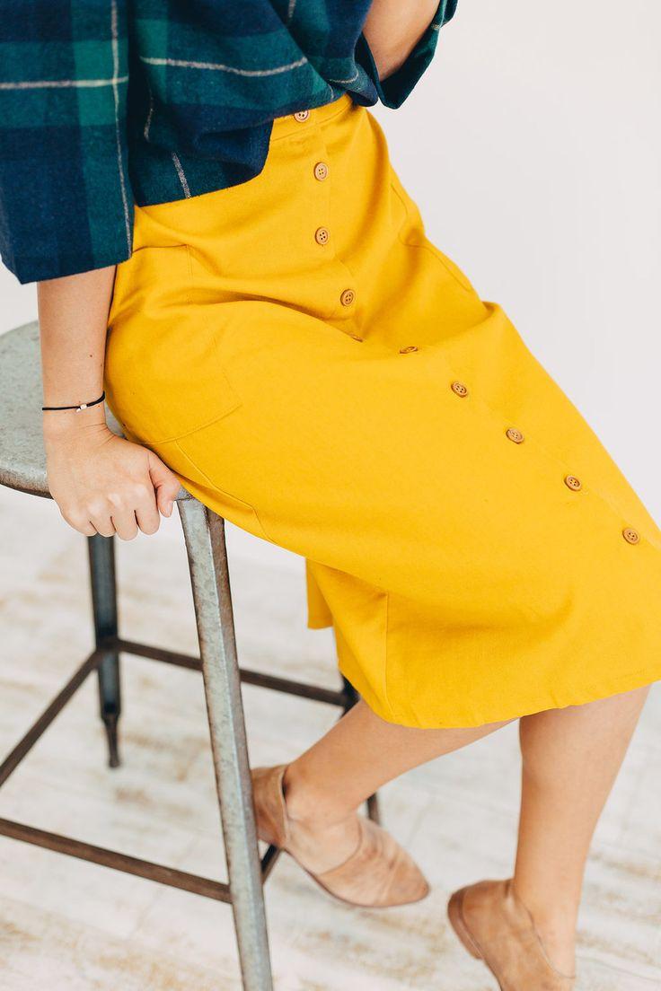 Mustard Spring Button Down Skirt | ROOLEE
