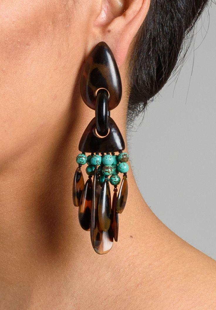 Monies UNIQUE Turquoise & Horn Clip Ons