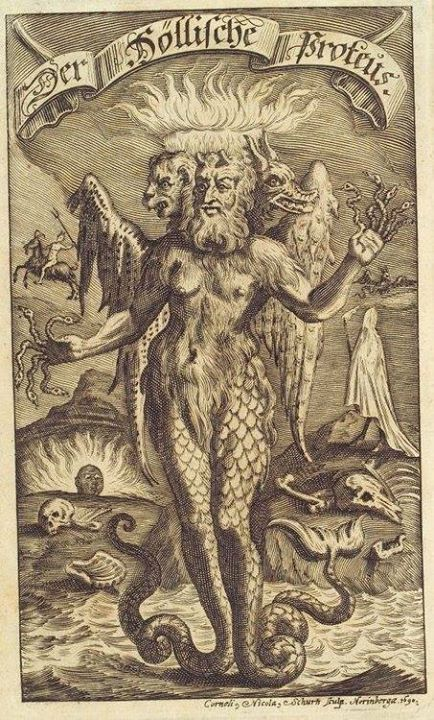 Satan, of a thousand faces, who walks on water, the Morning Star, the snake, the knower of all wisdom, the king of the underworld, which dominates in hell, whose throne is in the ocean.  Enki, king of abzu.  Erasmus Francisci, Der Höllische Proteus, 1695    http://36.media.tumblr.com/fa2f22ed1f5b27ae00a594e7d8d6aa22/tumblr_noegquIeyT1sdtln4o1_500.jpg