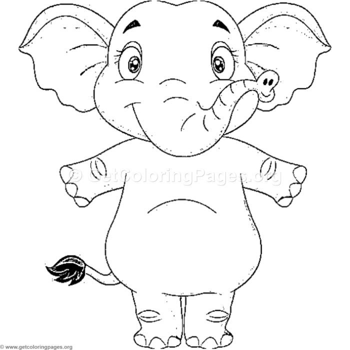 Free Instant Download Happy Standing Elephant Coloring Pages