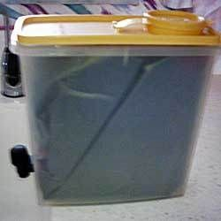 """Boxed"" wine is great on a boat . . . but how can you avoid the cardboard? Make your own plastic box for the interior bladder, so it's still easy to pour.  From TheBoatGalley.com"