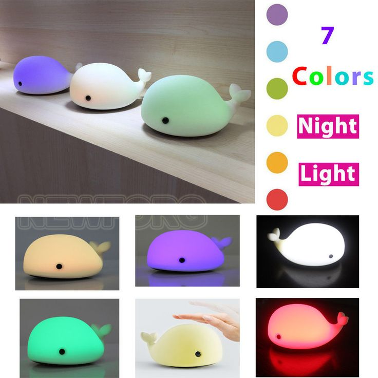 Silicone Whale LED Children Animal Night Light Soft