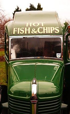 1938, Bedford mobile chip shop, England by Peter Ashley.     Fish and Chips  .... I still crave them  ..... they just are not the same here  .... we used to get them rolled up in newspaper.