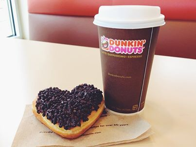 A Dunkin' latte and heart-shaped cookie dough donut...the perfect combination!