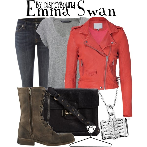 Emma Swan, created by lalakay on Polyvore: Red Leather Jackets, Emma Swan, Halloween Costumes, Style, Clothing, Disneybound Outfits, Disney Bound, Once Upon A Time, Disney Inspiration Fashion