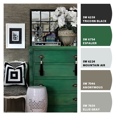 color scheme for playroom (medium gray walls with the black media center and futon and pops of green in tables, pillows, etc.)