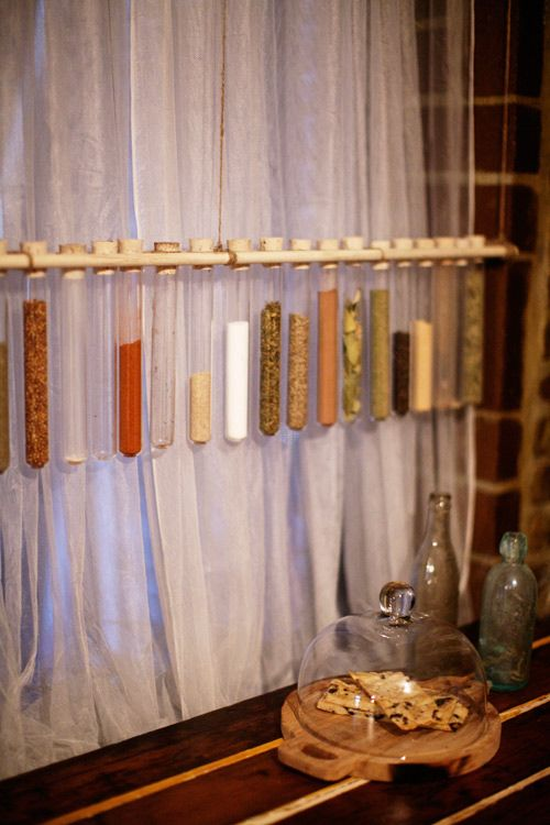 Test tubes to store spices-- what a neat idea. From Daniel Grady Faires' apartment. Photography by Emily Johnston Anderson