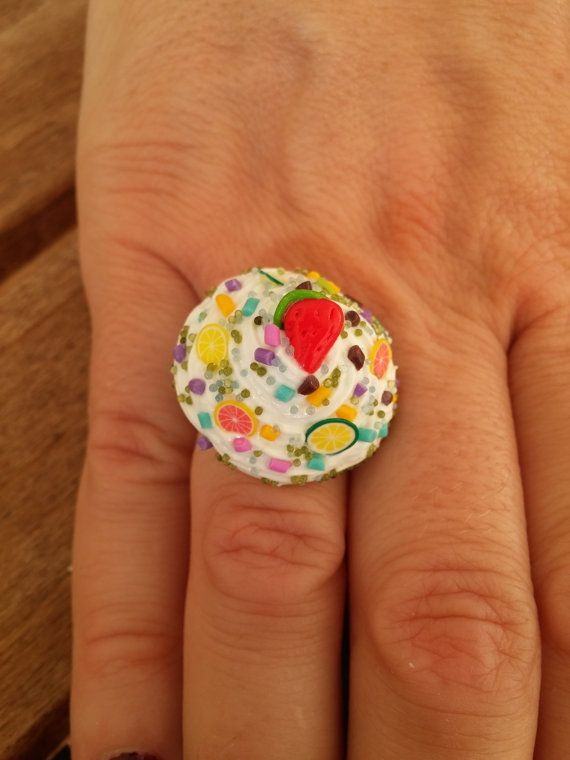Cake polymer clay ring with metal base - Handmade  https://www.etsy.com/listing/476657342/cake-polymer-clay-ring-with-metal-base
