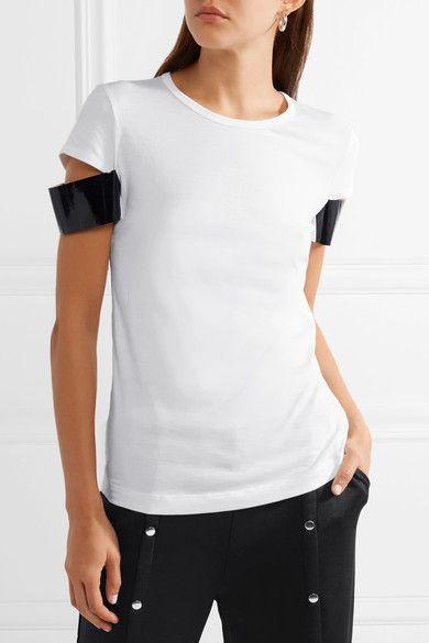 Helmut Lang - Faux Patent Leather-trimmed Pima Cotton-jersey T-shirt - White