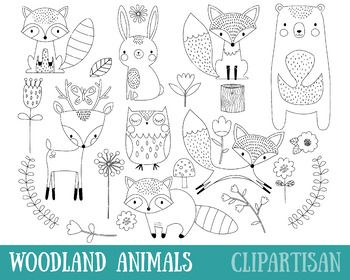 Woodland Animals Clip Artwork, Forest Animals Coloring Exercise