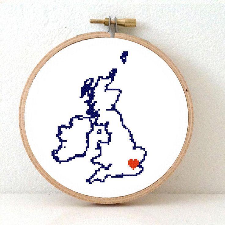 UK Map Cross Stitch Pattern Easy Embroidery pattern