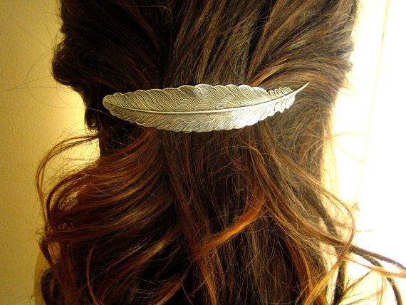 Large feather barrette in ox antique sterling silver plated brass $22.00