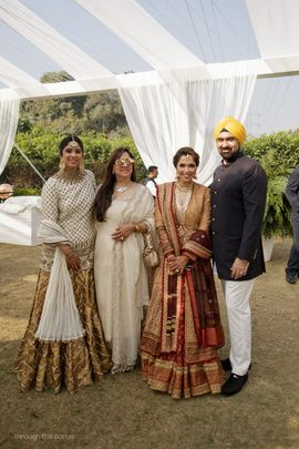 Sister of the Bride - White and Gold Lehenga | WedMeGood | Bride in a Marsala and Gold Outfit and the Groom in a Black and White Sherwani #wedmegood #indianbride #indianwedding #bridal #sisterofthebride #motherofthebride