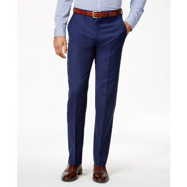 Ryan Seacrest Distinction Men's Blue Solid Slim-Fit Pants, ($150) ❤ liked on Polyvore featuring men's fashion, men's clothing, men's pants, men's dress pants and navy