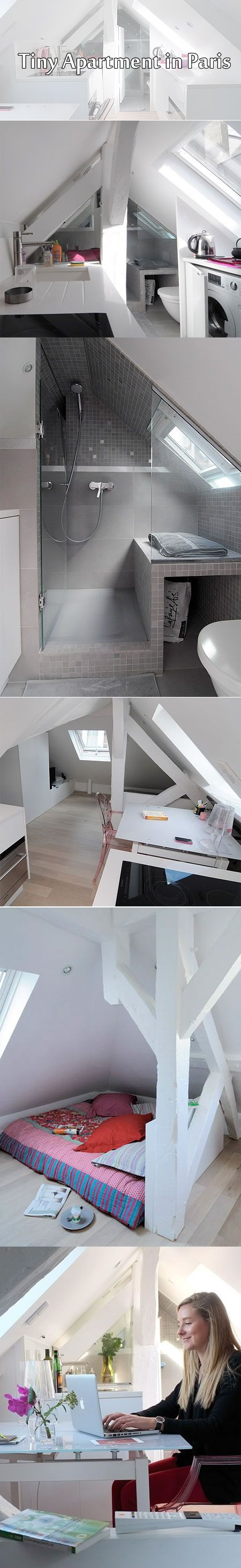 I like the shower..Tiny studio apartment in Paris. Compact living. White. Attic apartment. Scandinavian style.