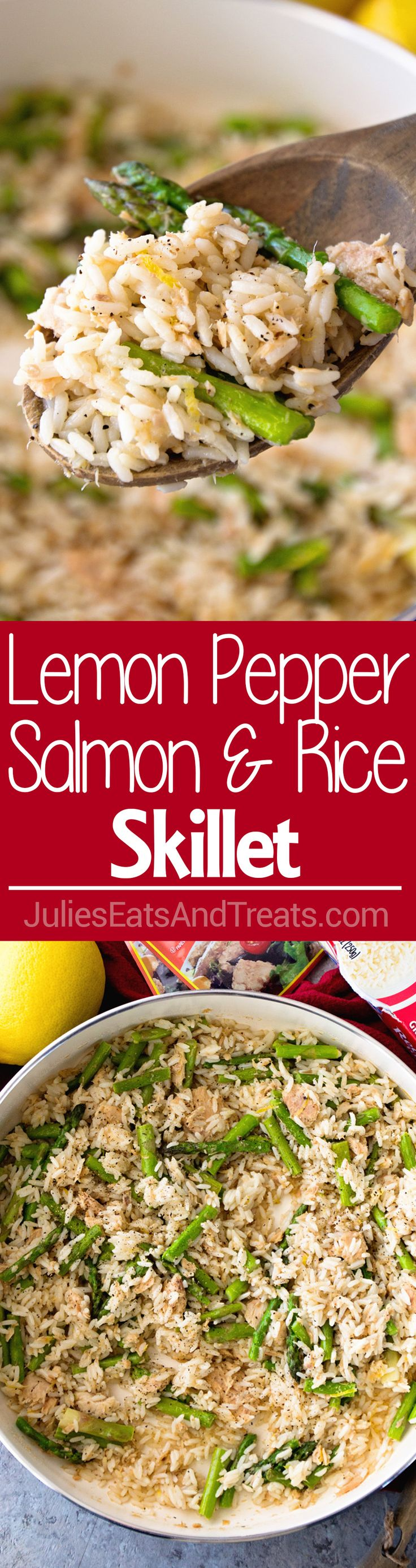 Lemon Pepper Salmon & Rice Skillet ~ Quick, Easy and Healthy Dinner! Grab Your Skillet and Have Dinner Ready in 20 Minutes! Only 6 Ingredients!