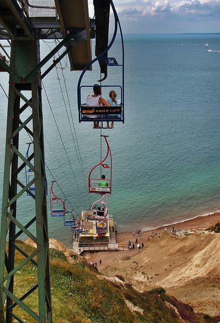 Chair lift at the Needles, Isle of Wight. I went on this (April 2014) despite a fear of heights. It's a shame the bad light and rain prevented a decent photo to prove it!
