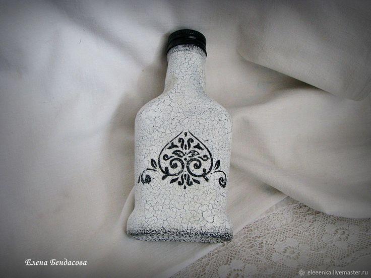 Маленькая стеклянная бутылочка винтаж прованс шебби монохром – купить в интернет-магазине на Ярмарке Мастеров с доставкой - FC13FRU
