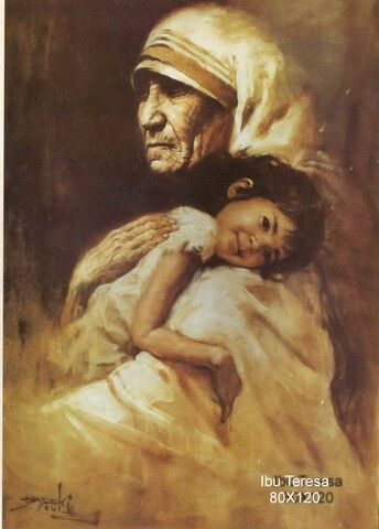 """Mother Theresa"" by Basoeki Abdullah Indonesian famous painter"